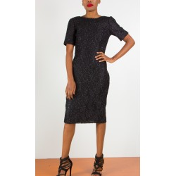 Tinsel Lace Black Shift Dress