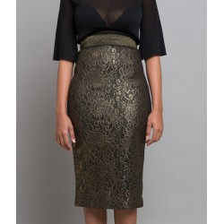 Gold Bonded Lace Pencil Skirt